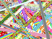 Ribbon Patterns Abstract. Colorful ribbons 3d illustration pattern surface, horizontal background Royalty Free Stock Photo