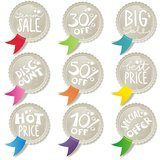 Colorful ribbons discount offer shiny button set Stock Photo