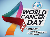 Colorful Ribbons forming Number Four, Date for World Cancer Day, Vector Illustration Stock Image
