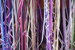 Colorful ribbons. Colorful hanging curled party ribbon Stock Photos