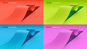 Illustrated ribbons on colorful background. Colorful ribbons illustrated on solid background Stock Image
