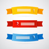 Colorful Ribbons, Labels Set. Colorful Paper Ribbons, Labels Set, Yellow, Red and Blue Royalty Free Stock Photo