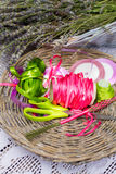 Colorful ribbons and lavender flowers for decoration Royalty Free Stock Photos