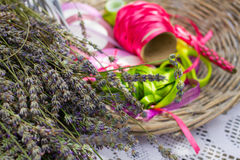 Colorful ribbons and lavender flowers for decoration Stock Images