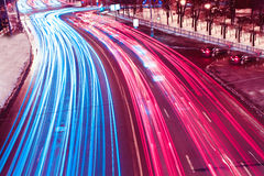 Colorful ribbons over streets Royalty Free Stock Photo