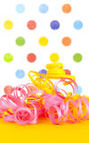 Colorful ribbons with a polka dot background Royalty Free Stock Photography