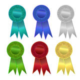 Colorful ribbons or rosettes. Six colorful ribbons or rosettes Royalty Free Stock Images