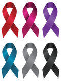 Colorful Ribbons Set. Set of abstract awareness ribbons in different colors Royalty Free Stock Photography
