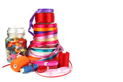 Colorful ribbons, sewing, craft and haberdashery items Royalty Free Stock Photography