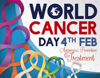 Colorful Ribbons to Commemorate World Cancer Day in February, Vector Illustration Royalty Free Stock Photos
