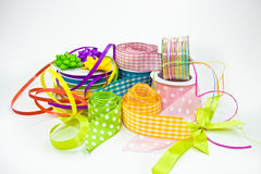 Colorful ribbons for wrapping gifts Royalty Free Stock Image