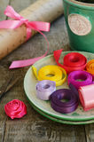 Colorful ribbons and wrapping paper for floristics and decor Stock Photo