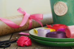 Colorful ribbons and wrapping paper for floristics and decor Stock Images