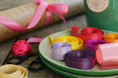 Colorful ribbons and wrapping paper for floristics and decor Stock Image