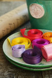 Colorful ribbons and wrappings for floristics and decor Stock Image