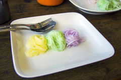 Colorful rice vermicelli in dish Stock Photos