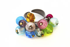 Colorful ring. Picture of  handmade colorful ring with colored beads Stock Image