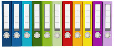 Colorful ring binders Stock Photos