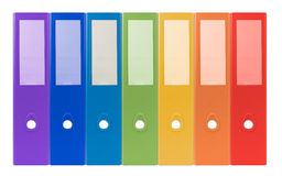 Colorful ring binders-full with office document and business inf Stock Photos