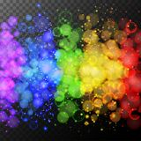 Colorful rings of light on black background Royalty Free Stock Photo