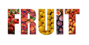 Colorful ripe fruit inside text on white backround Royalty Free Stock Images