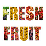 Colorful ripe fruit inside text on white backround Royalty Free Stock Image