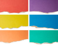 Colorful ripped or torn cardboard collection Stock Image