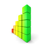 Colorful Rising Bar Graph On White Background. 3d render illustration Stock Images