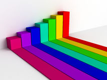 Colorful rising busines bar graph diagram. 3d render illustration Royalty Free Stock Photography