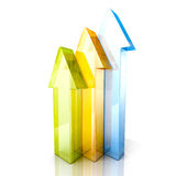 Colorful Rising Up Glass Arrows Stock Photo