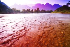 Colorful of river in vangvieng Stock Photography
