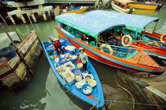 Colorful riverboats with fish sellers and some tourists of fishing village. HONG KONG, CHINA - FEB 11: Colorful riverboats with fish sellers and some tourists of Stock Image