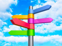 Colorful Road Direction Arrows Signs On Blue Cloud Sky backgroun. D. 3d Render Illustration Royalty Free Stock Photos