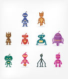 Colorful robot characters. Colorful robot character series ideal for illustrations, games, animations Stock Image