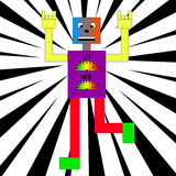 Colorful robot dancing. Royalty Free Stock Images