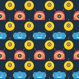 Colorful robot heads dark seamless pattern. Design Stock Image