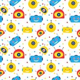 Colorful robot heads and dots seamless pattern. Design Royalty Free Stock Photo