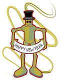 Colorful Robot holding Happy New Year sign. Retro colored robot wearing top hat displays Happy New Year banner Stock Photo