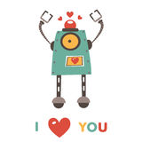 Colorful robot in love character Stock Photography