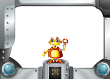 A colorful robot in the middle of the empty frame. Illustration of a colorful robot in the middle of the empty frame stock illustration
