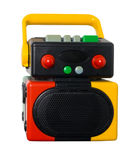 Colorful robot music player isolated white with clipping path Royalty Free Stock Images