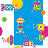 Colorful robots collection pattern / greeting card Royalty Free Stock Photography