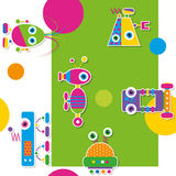 Colorful robots collection pattern / greeting card Stock Image