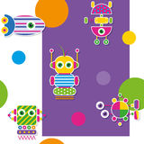 Colorful robots collection pattern / greeting card Stock Photography