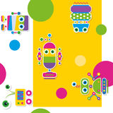 Colorful robots collection pattern / greeting card Royalty Free Stock Photos