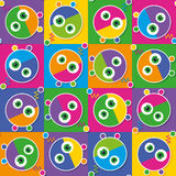 Colorful robots collection pattern Royalty Free Stock Image