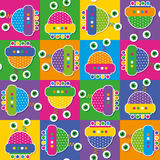 Colorful robots collection pattern Stock Photography