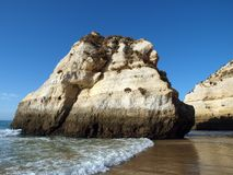 Colorful rock cliffs of the Algarve Royalty Free Stock Image