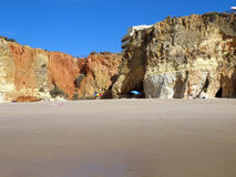 Colorful rock cliffs of the Algarve Stock Image