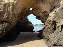 Colorful rock cliffs of the Algarve Stock Images